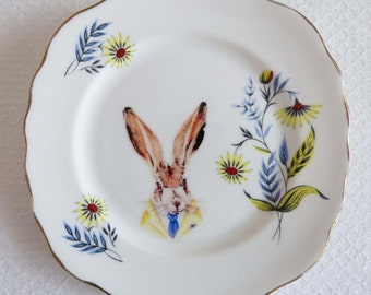 Vintage plate with Hare in a shirt and tie decal decoration