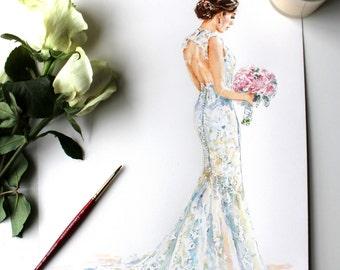 Custom Wedding Dress Portrait/Bridal Portrait/Wedding Gift/Wedding Gown