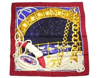 Authentic CELINE Vintage Scarf 100% Silk Nautical Motives