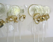 Gold Wedding Favor Lollipops -Champagne Flavor Candy with Gold Edible Glitter - 12  Pack -  Wedding Favors, Party Favors, New Years Party