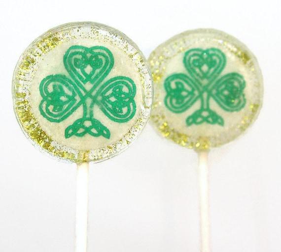 St Patricks Day Celtic Shamrock Wedding Favor Lollipops