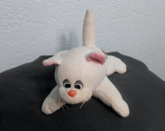 Pound Pur-r-ries plush kitty small 8 inches Made by Tonka in the 80's era with White plush and black eyes