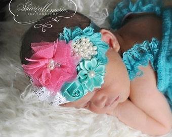 Aqua Headband/Aqua Headband/Shabby Chic Headband/Baby Headband/Infant Headband/Newborn Headband/Toddler Headband/Girls Headband/Headwear