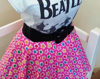 Daisy Daze Skirt - Handsewn/Handmade Pink Flower Print Full Circle 18Inch Long Swing Skirt. Custom Sizes Available