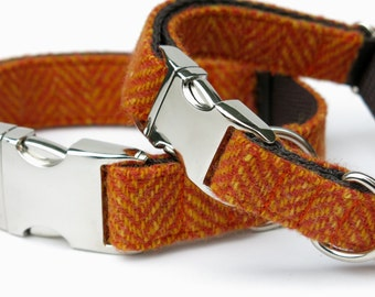 Harris Tweed Orange Herringbone dog collar