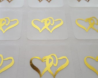 Gold Foil Hearts Metallic Envelope Seals | Wedding Invitation Seals, Clear Stickers Gold Foil Hearts, 25 Stickers Per Sheet | 8.25 Per Sheet