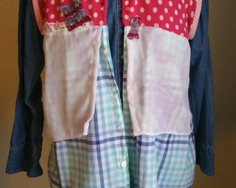 SALE, Upcycled, Vest, Sweater Vest, Polka Dot, Reconstructed, Remade Shirt, Cardigan, Coverlet, Jacket, Shabby Chic, Mori Girl
