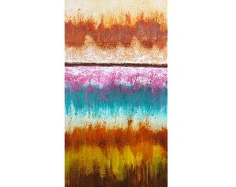abstract original painting pink turquoise rust southwest horizon acrylic lines