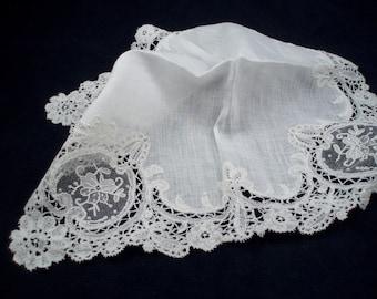 Antique Brussells Lace Ladies' Handkerchief Wedding Hankie