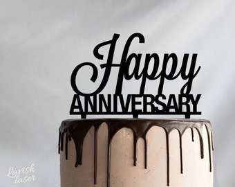 HAPPY ANNIVERSARY Laser Cut Cake Topper