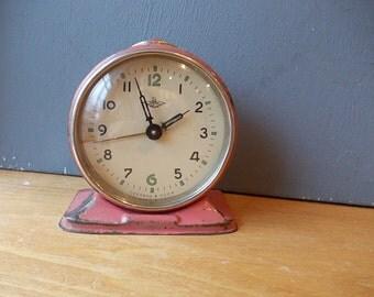 Vintage Bell Alarm Clock JANTARJ / Working / Blue and Red Vintage Alarm Made in USSR / Retro alarm clock