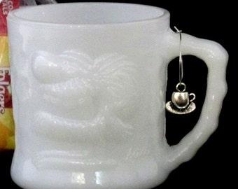 Grog comic Cave Man white milk glass vintage 50s Coffee Mug Cup