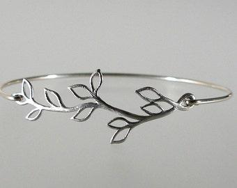 Olive Branch Silver Bangle Bracelet,  Wedding Jewelry, Wedding Party, Bridesmaid Jewelry, Bridesmaid Gift Idea, Mothers Day (119S,)