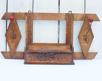 Antique Wooden Hanging Hall Tree / Coat Hat Rack / Entryway / Organization Storage