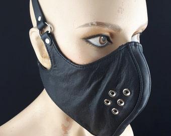 Mask Black Leather Burner Mask Burning Man Goth Mask Cyber Punk Mask Cyber Goth Mask Gothic Face Mask Hood Steampunk Respirator Gothic Shop