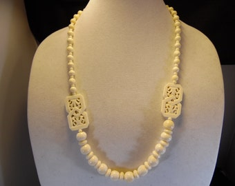 Hand Carved Vintage Bone Necklace