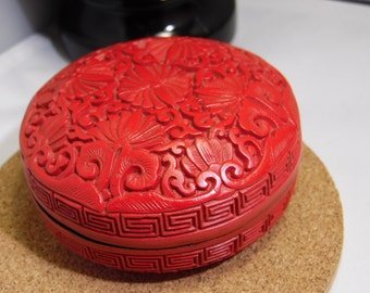 China Chinese Carved Cinnabar Lacquer Small Trinket Box