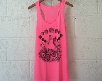 Wolf Moon Phase Floral Tank Top - Neon Pink Racer Back Tank - Moon Phase Flower Tank Top - Blacklight Pink Tank Top - Sale