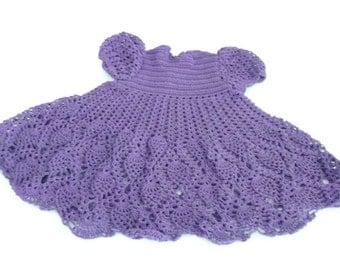 Crochet Baby Dress - Infant - preemie - Newborn - Reborn Doll Clothes - Purple Dress
