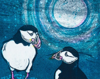 Cute Puffins,'Moonlight Rendezvous', a mounted limited edition digital print taken from an original ink monoprint.