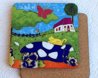 Coaster cow, country, tile coaster, farmhouse, Home decor by artist Isabelle Malo