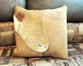Pillow Golden Brown Cowhide Fancy Pillow Indian Head Nickle Cowboy Decor Western Southwest