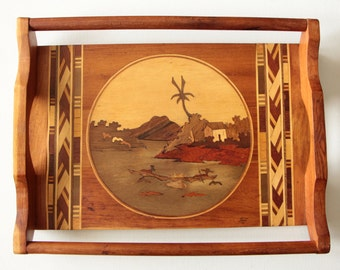 Vintage wood serving tray with wooden inlay landscape image / Asian inspired wood decor