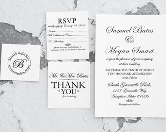 Wedding Invitation Stamp Suite, Custom Wedding Stamps, Wedding Rubber Stamp Suite, Wedding Thank You Stamp, RSVP Stamper 10217
