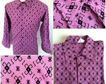 1960s Purple Geometric Mens Shirt (M Fit)