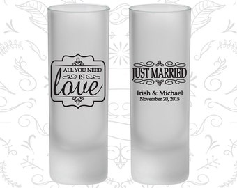 All you need is love, Frosted Tall Shot Glasses, Just Married, Vintage Wedding (528)