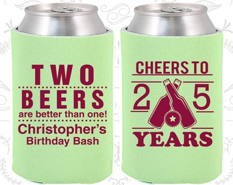 25th Birthday, 25th Birthday Favors, Custom Party Decorations, Cheers to 25 years, Two beers are better than one, Party Favors (20163)