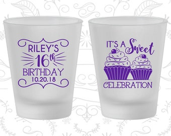 16th Birthday Frosted Shot Glasses, It's a sweet celebration, Cupcake Birthday, Birthday Frosted Shot Glass (20041)