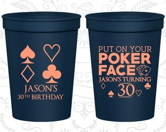 30th Party Favor Cups, Las Vegas Birthday, Poker Birthday, Casino Birthday, Party Favor Cups, Fun Birthday Cups (20062)