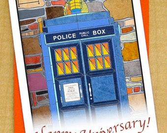 Doctor Who Wedding Anniversary Card  Police Call Box Card  Greeting Card