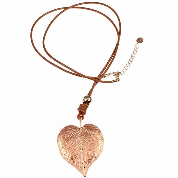 Lagenlook Jewellery: Lagenlook Rose Gold Plated Large Leaf Embossed Heart Pendant