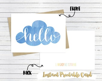 Printable Hello Greeting Card- Instant Download, Printable 5x7 Card, Printable Card, hello note cards, hello stationery, blank card