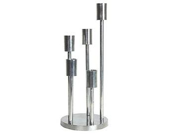 Modernist Chrome Spiral Candleholder