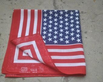 Very cute vintage navy white red  geometric print cotton square scarf bandana .