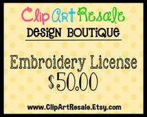 Digital Embroidery License  - One time fee!  BONUS 20.00 worth of FREE clip art!