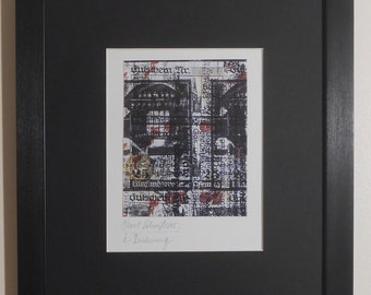 """Mounted and Framed - I-Drawing Print by Kurt Schwitters - 14"""" x 11"""""""