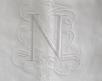 "Embroidered ""N"" Monogram Guest Towel in White with  Gallucci Border /Free shipping in US"