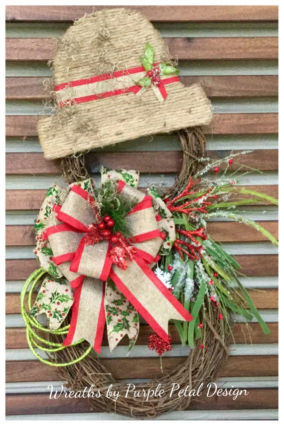 Snowman Wreath Christmas Wreath Grapevine Snowman Wreath
