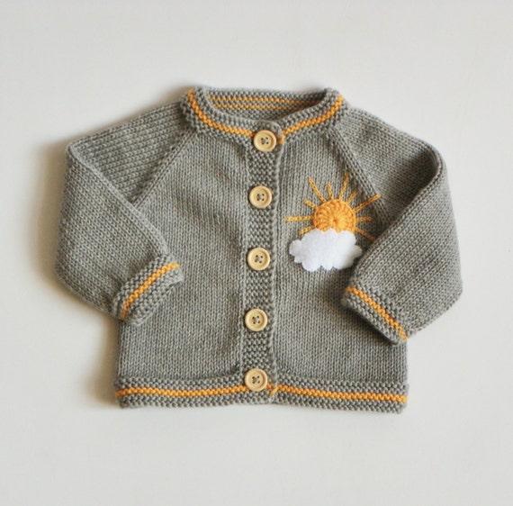 Knitted Baby Girl Cardigan Merino Jacket Wool Sweater Grey