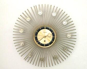 Mid- Century Modern, Starburst Clock, Vintage Working Forestville Starburst Clock,