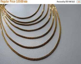 ON SALE Vintage Gold Plated Multi Strand Chain Necklace