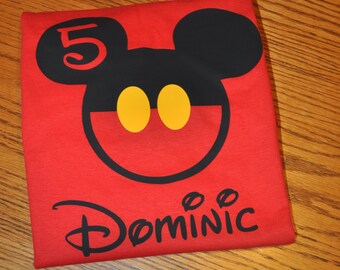 Birthday Custom Disney Family Matching Shirts, Mickey Mouse Minnie Mouse Inspired with Glitter option Available Personalized