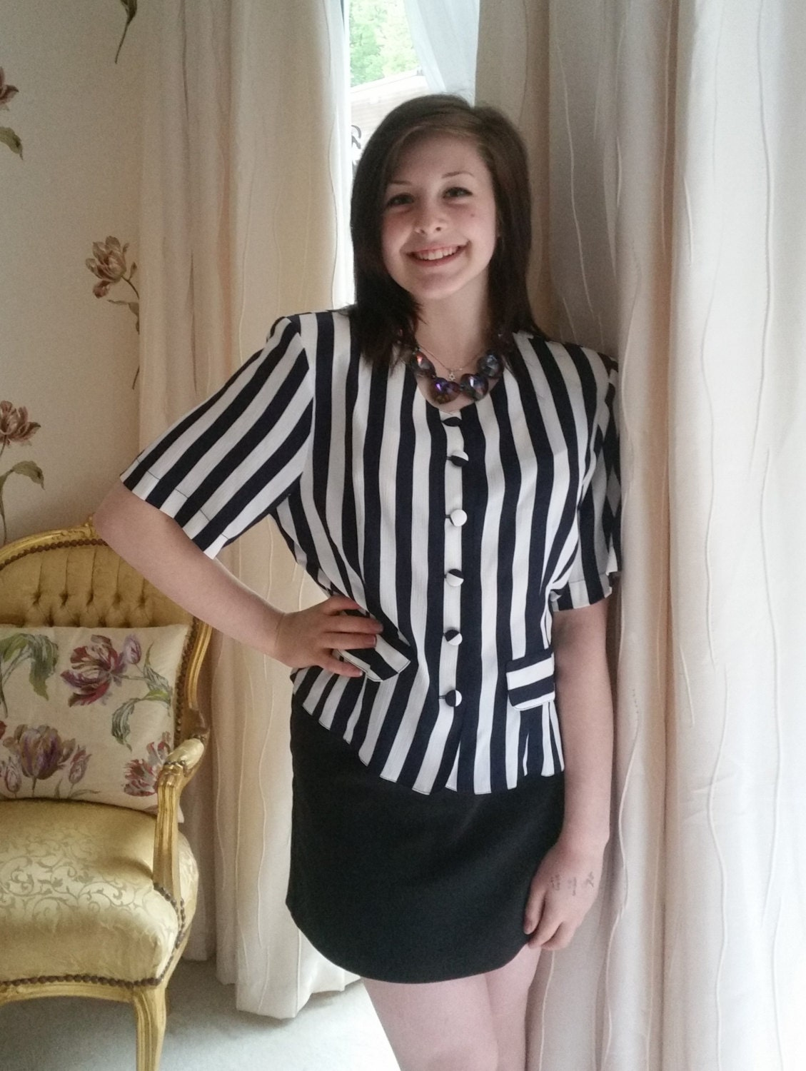White And Navy Blouse 42