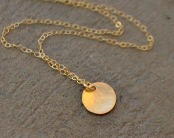 Gold Disc Necklace - Tiny Disc Necklace - Silver Disc Necklace