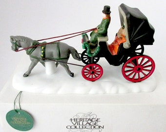 Dept 56 Christmas NIB Central Park Carriage Figurine - Heritage Village Accessory 59790 - Horse and  Buggy 1989  Horse Drawn Carriage