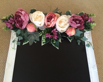 Artificial floral swag for chalkboard sign... Rustic vintage peonies and greenery